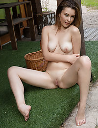 Dominika Jule strips outdoors baring her creamy body and sweet pussy.