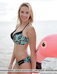 Agatha strips her bikini baring her gorgeous tits at the beach.